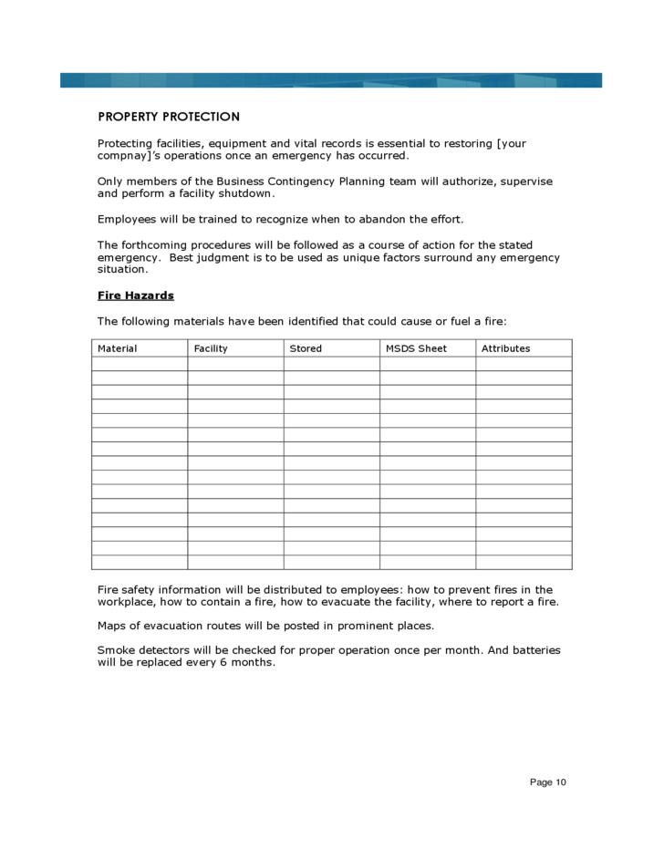 Sample business continuity plan template free download for Business resumption plan template