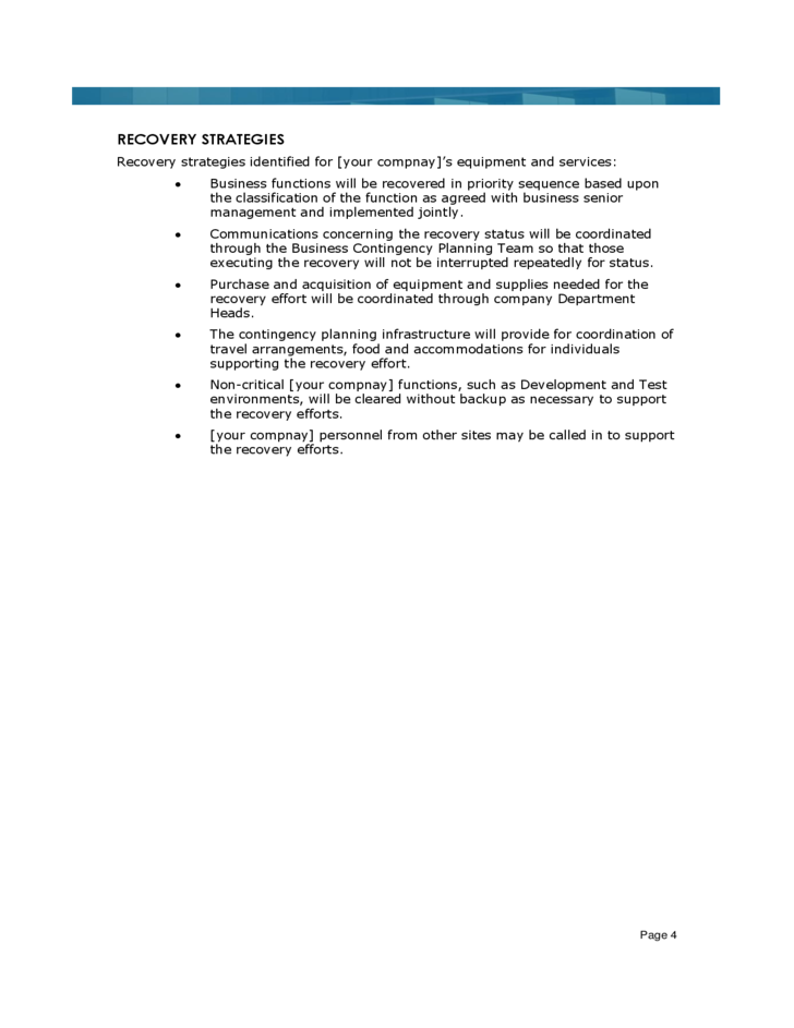 Doc560670 Sample Business Contingency Plan Doc560670 It – Sample Business Contingency Plan