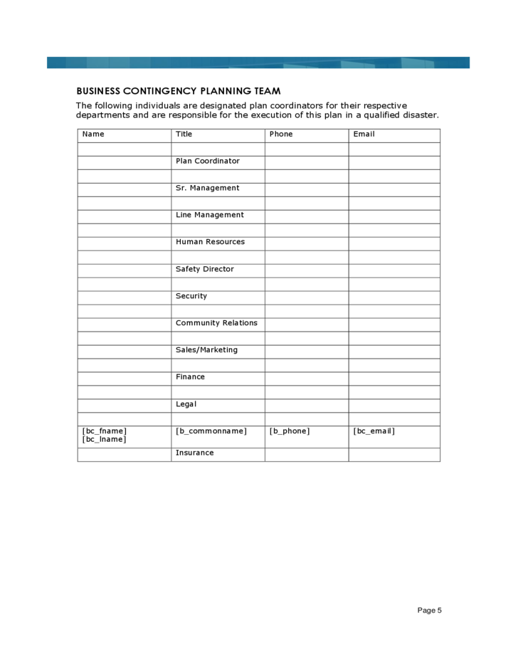 business resumption plan template - sample business continuity plan template free download