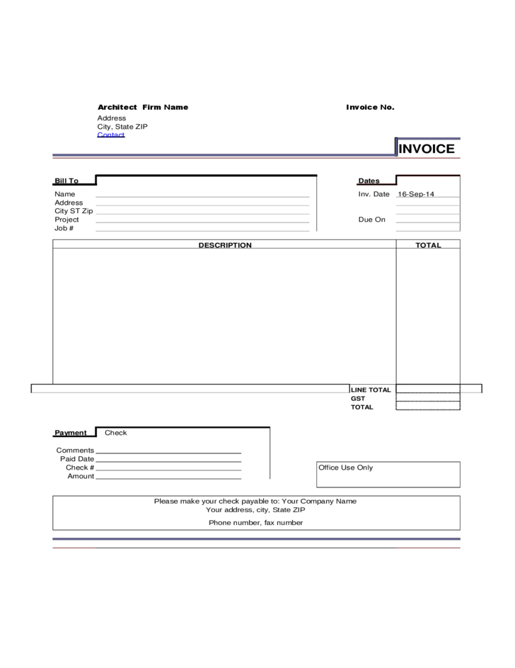 Sample Architect Invoice Template Free Download