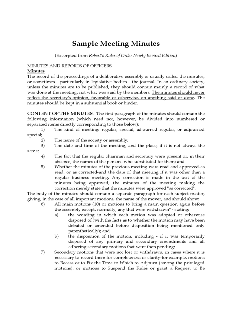 Sample Meeting Minutes - Virginia Union University