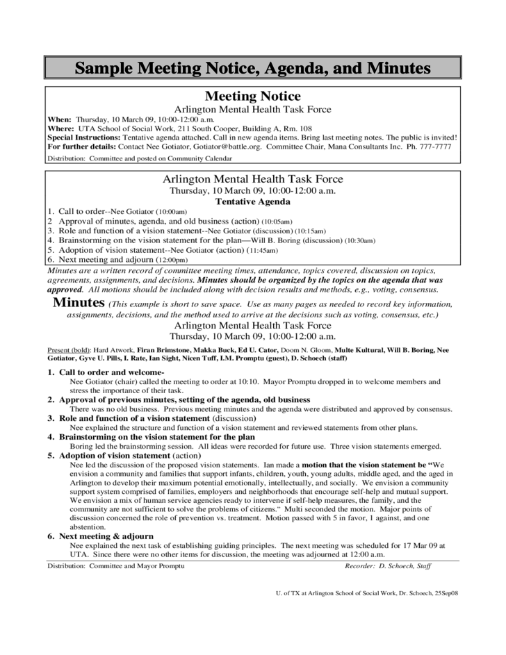 Sample Meeting Notice, Agenda and Minutes
