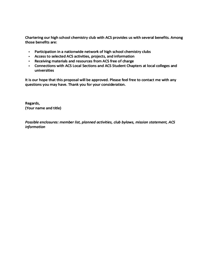 2 sample proposal letter for a new chemclub