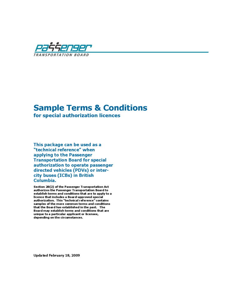 Sample Terms and Conditions - British Columbia