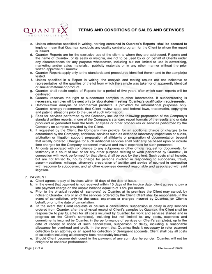 Terms and Conditions of Sales and Services