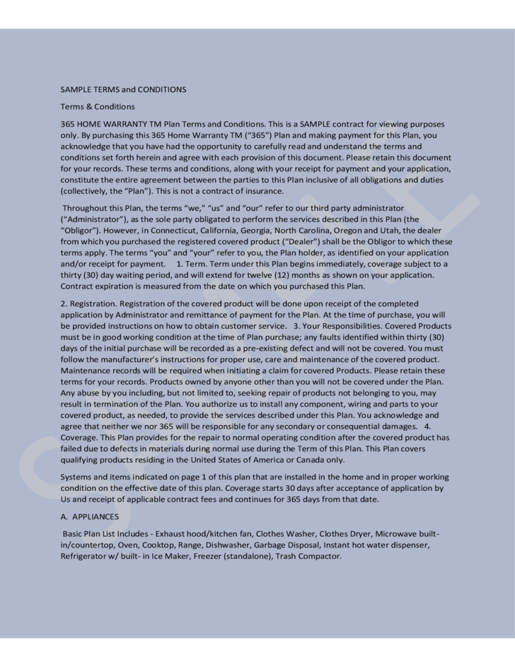 Sample Terms And Conditions 365 Home Warranty Free Download