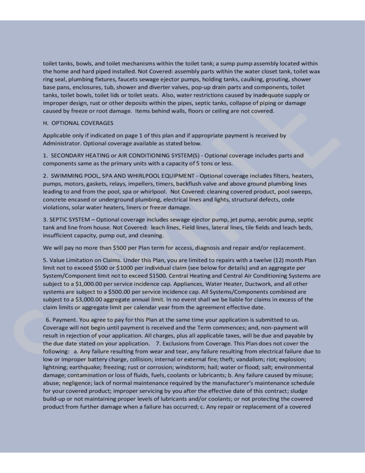 Sample Terms and Conditions - 365 Home Warranty