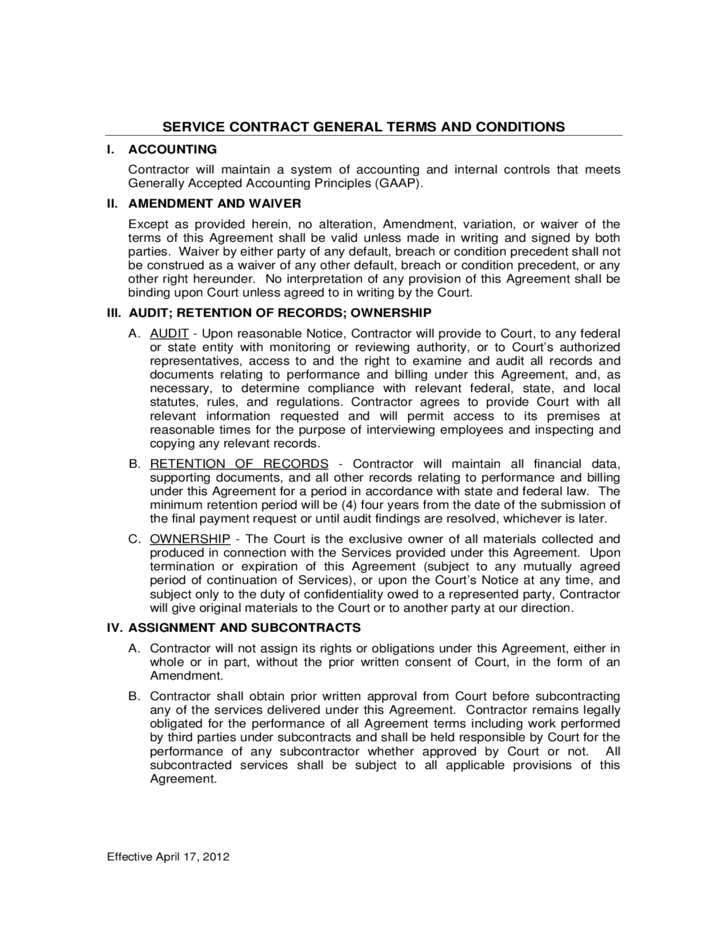 Service contract general terms and conditions free download for Terms and conditions of service template