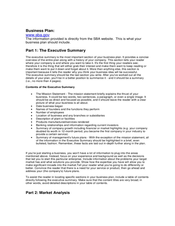 Business Plan Template Free Download - Business plan template sba