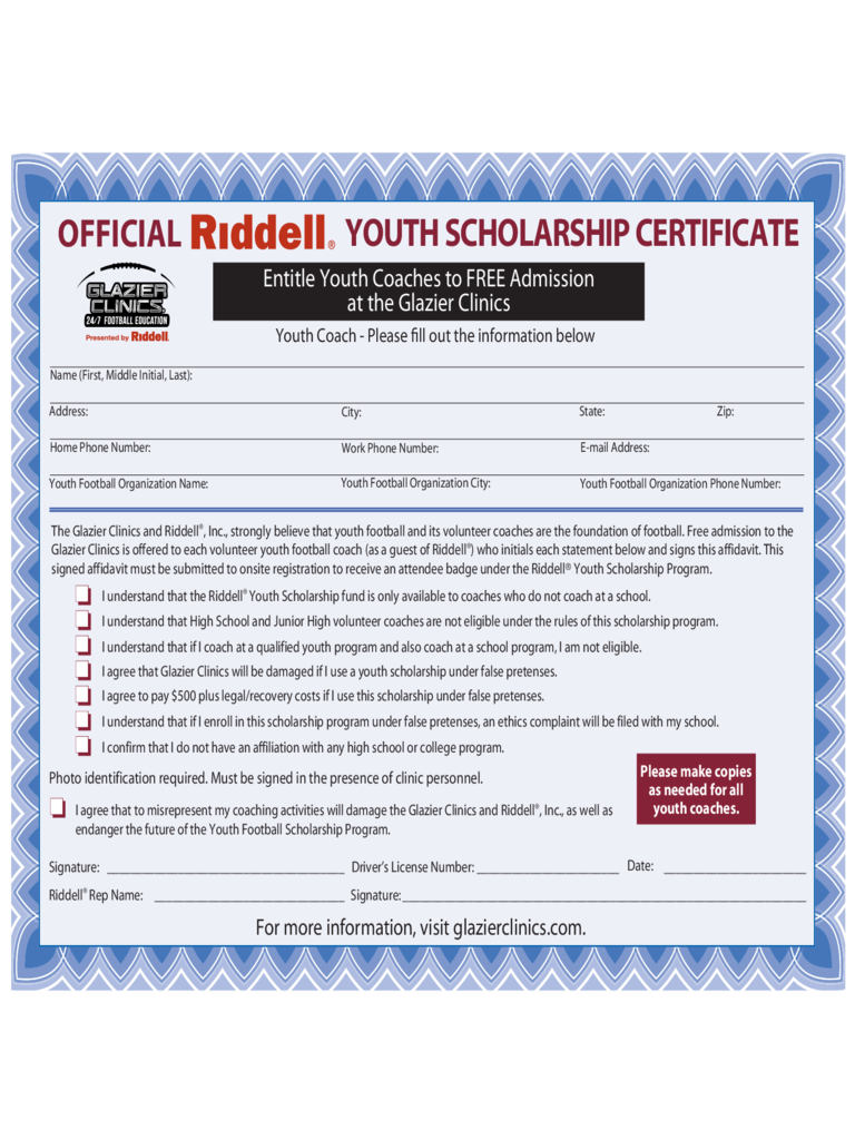 Official Youth Scholarship Certificate
