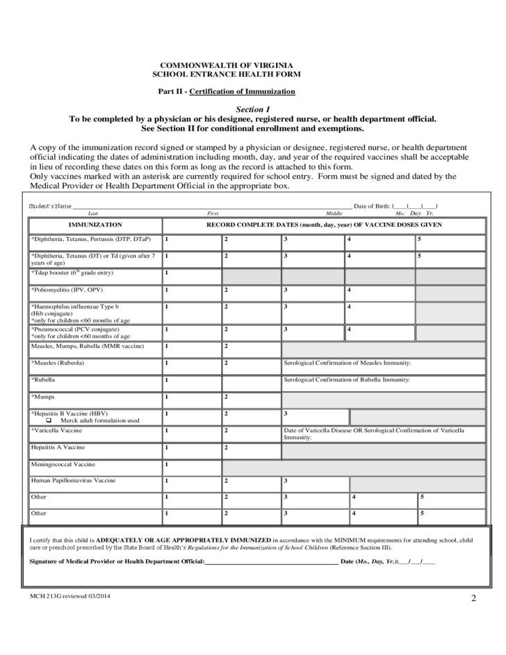 School Entrance Health Form - Virginia Free Download
