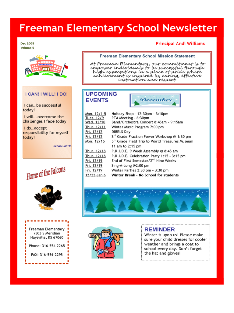 Elementary School Newsletter
