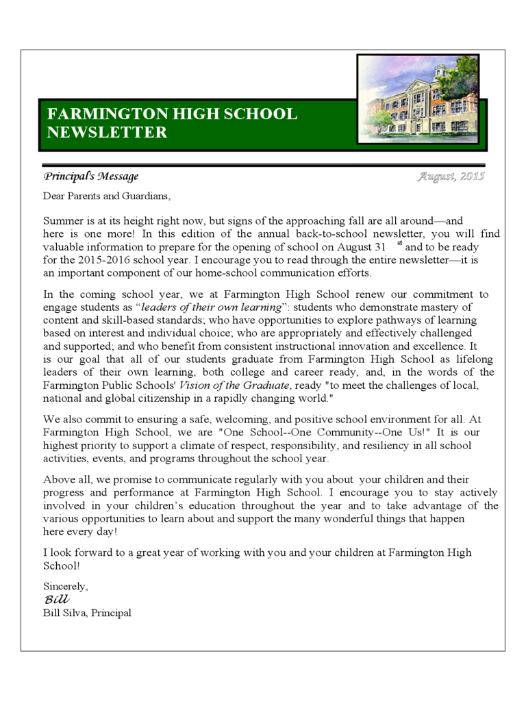 farmington-high--newsletter-d1  Page Newsletter With Social Media Templates Free on