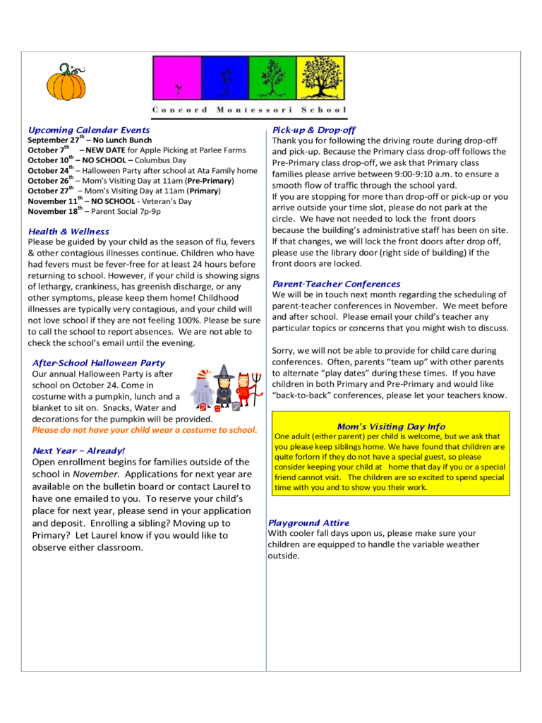 Sample Newsletter - Concord Montessori School