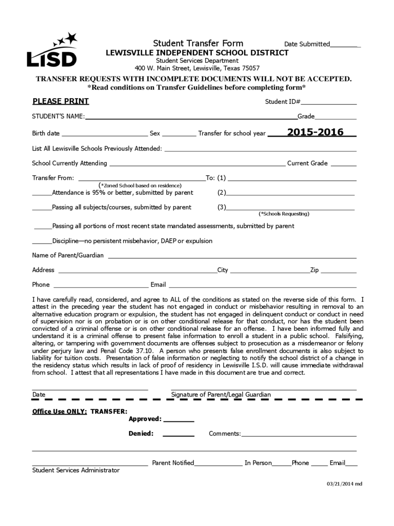Student Transfer Form - Lewisville Independent School District
