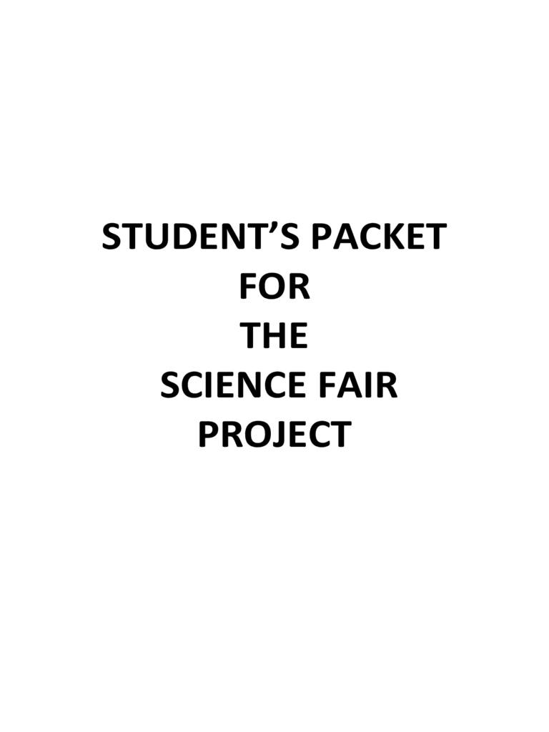 Student's Packet for the Science Fair Project