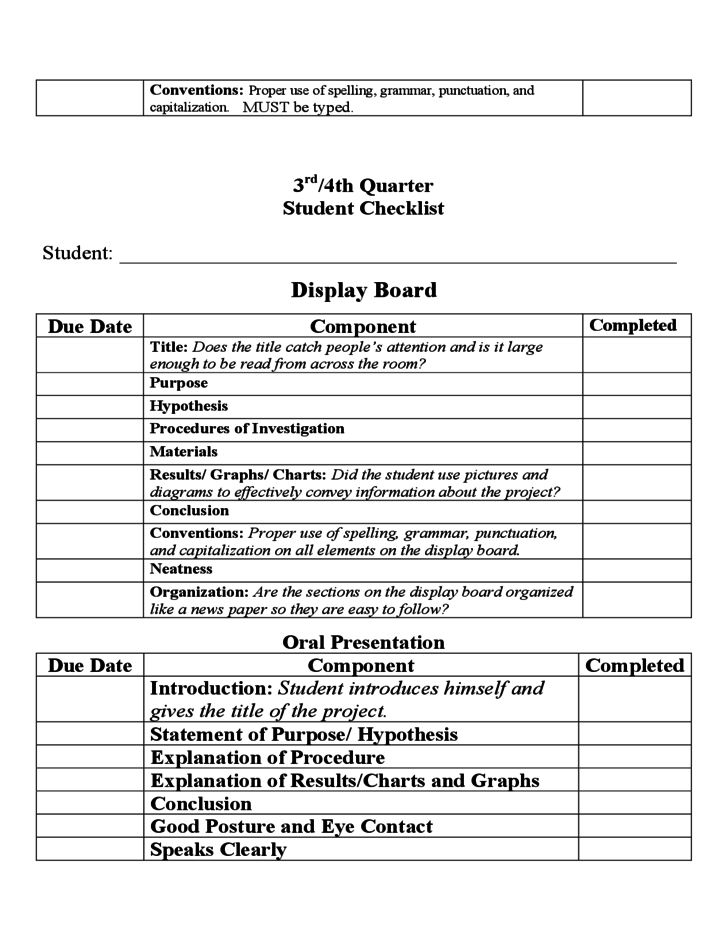 Student S Packet For The Science Fair Project Free Download
