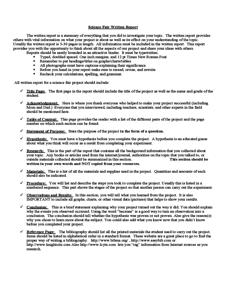 science project written report sample