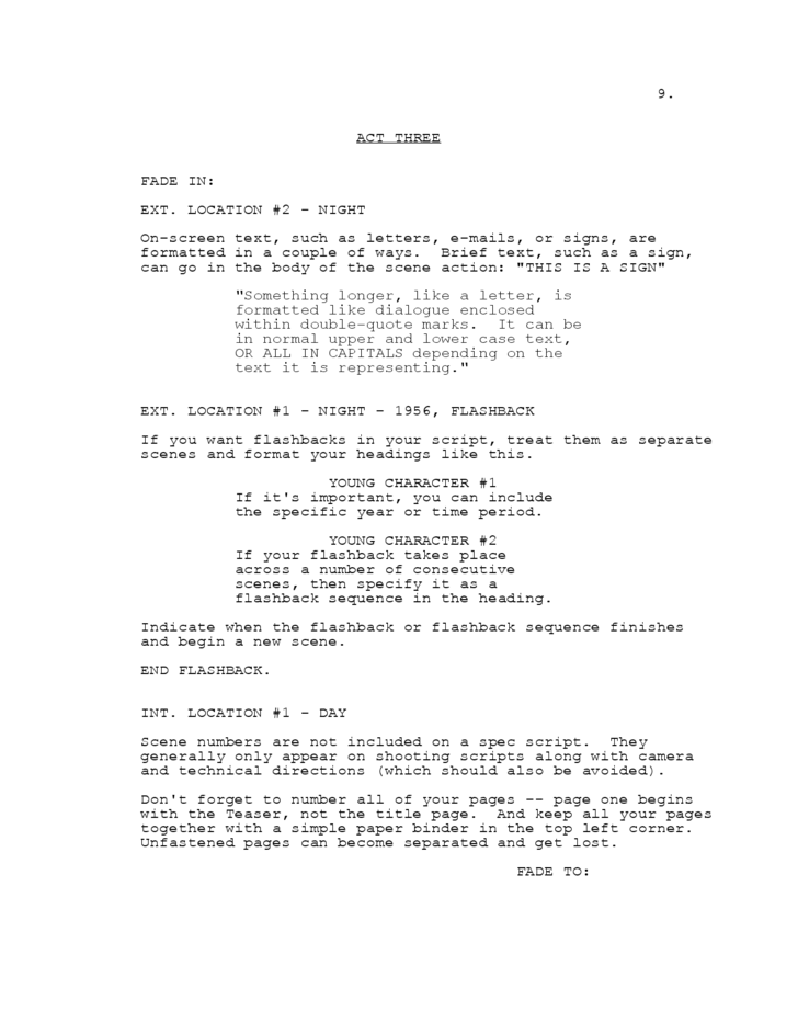 Co-writing agreement screenplay format