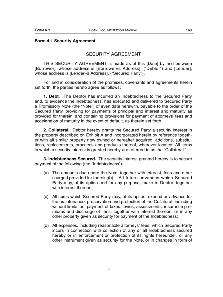 Sample Security Agreement Form