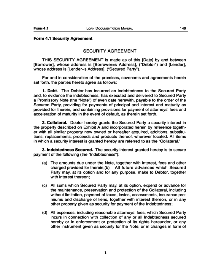 Sample Security Agreement Form Free Download