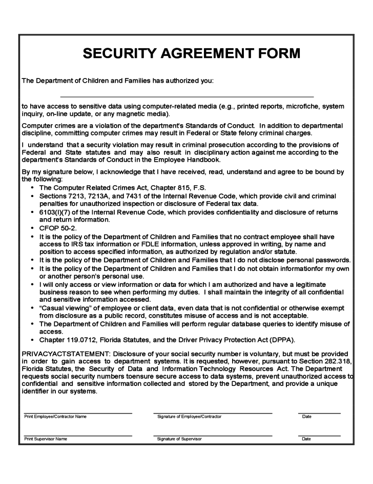 security agreement sample form free download