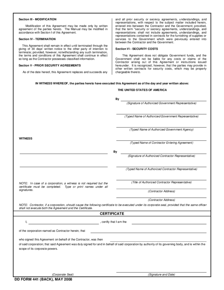department of defense security agreement free download