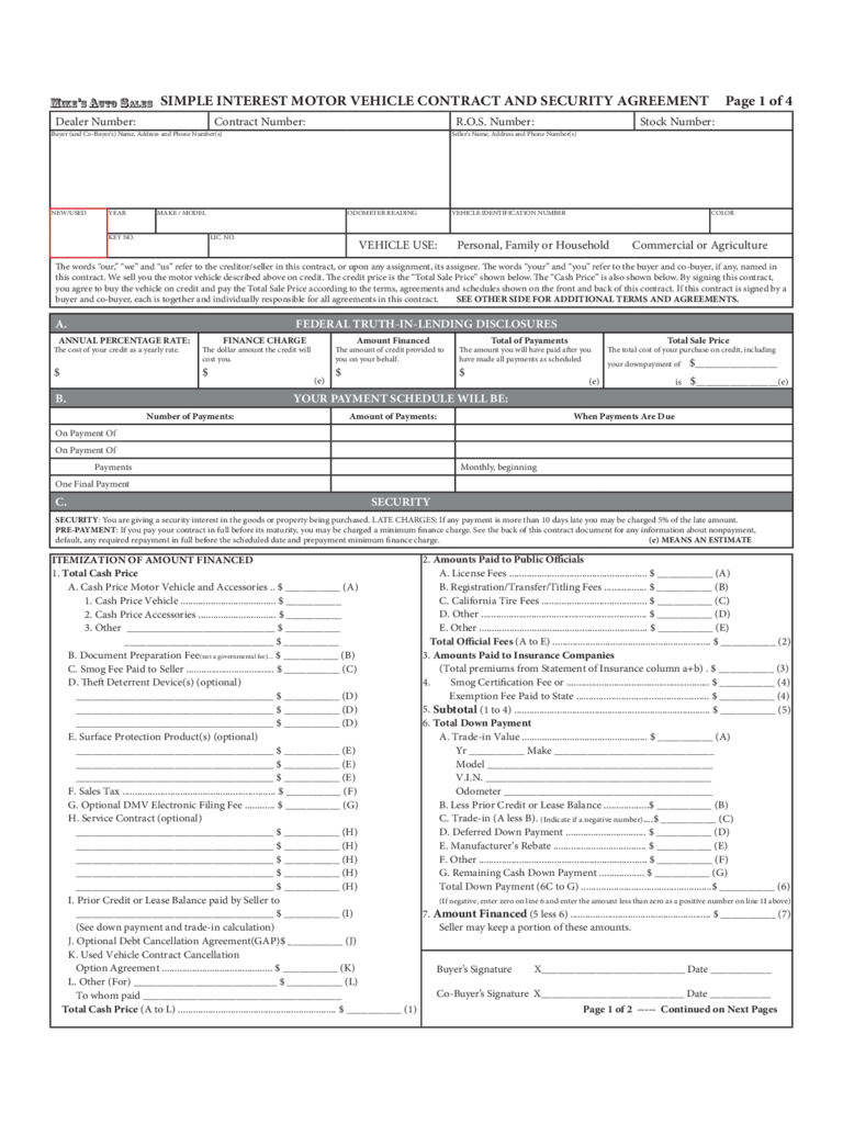 Motor Vehicle Security Agreement Form