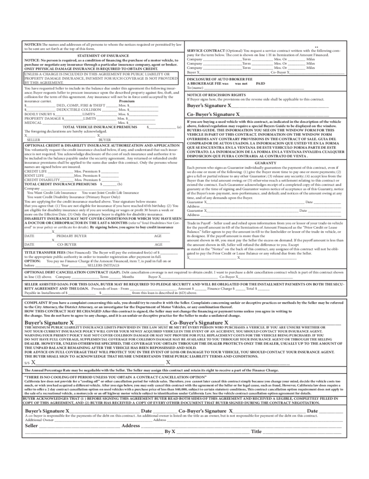 Motor Vehicle Security Agreement Form Free Download