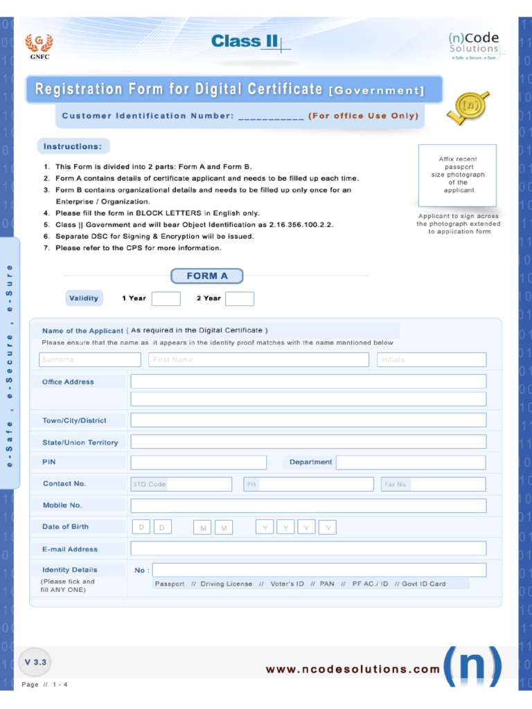 Registration Form for Digital Certificate