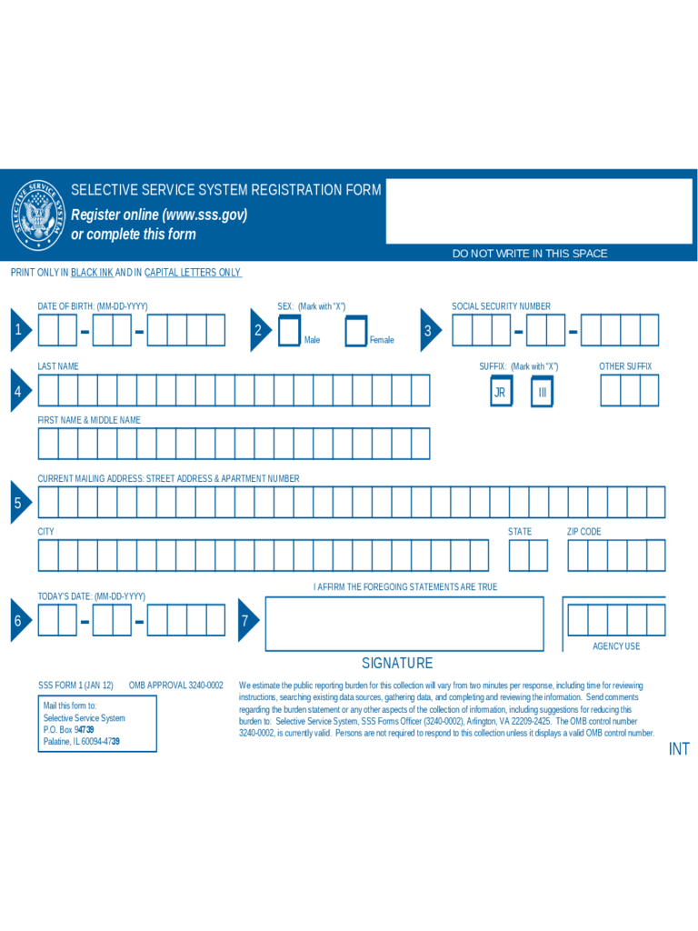 Selective Service Registration Form 2 Free Templates In
