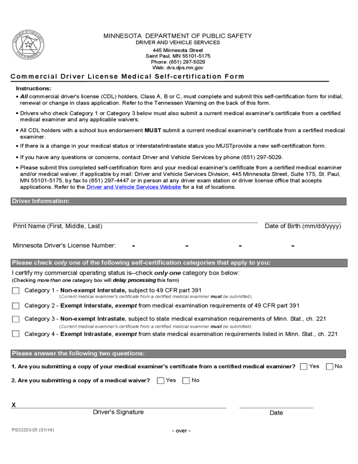 Commercial Driver License Medical Self Certification Form