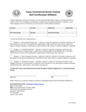 Commercial Driver License Self-Certification Affidavit - Texas Free Download