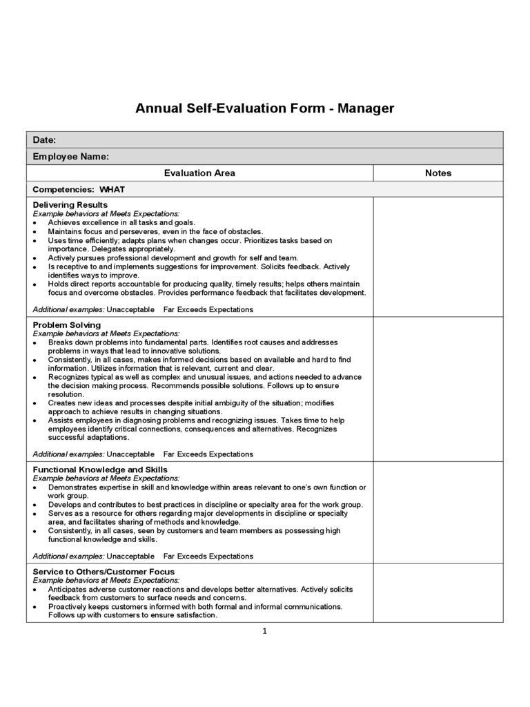 Annual Self Evaluation Form Free Download  Employee Self Evaluation Forms Free