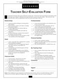Teacher Self Evaluation Form Free Download