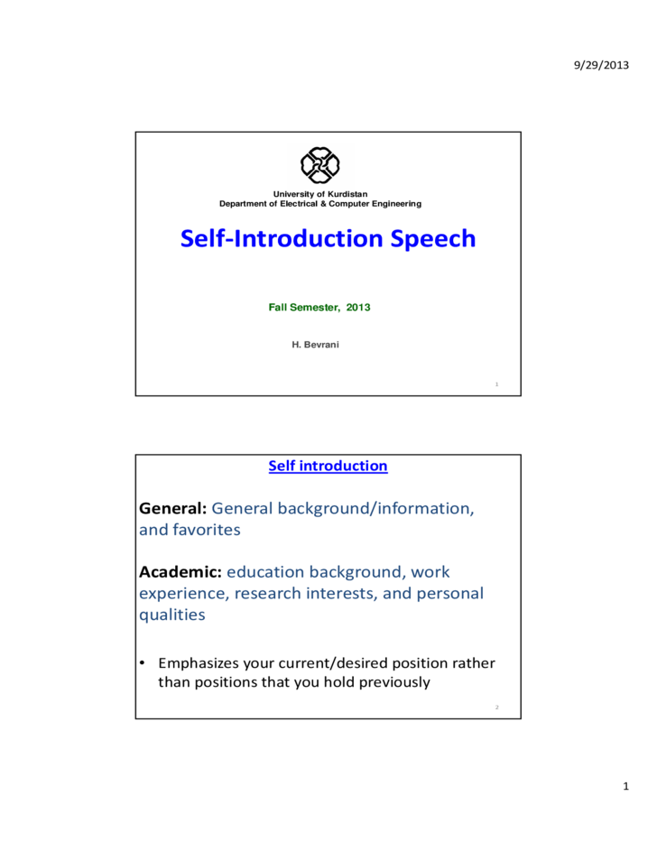 Self Introduction Speech Free Download