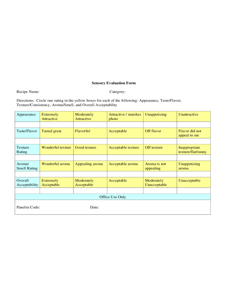 Sensory Evaluation Form on Printable Template Calendar With Time
