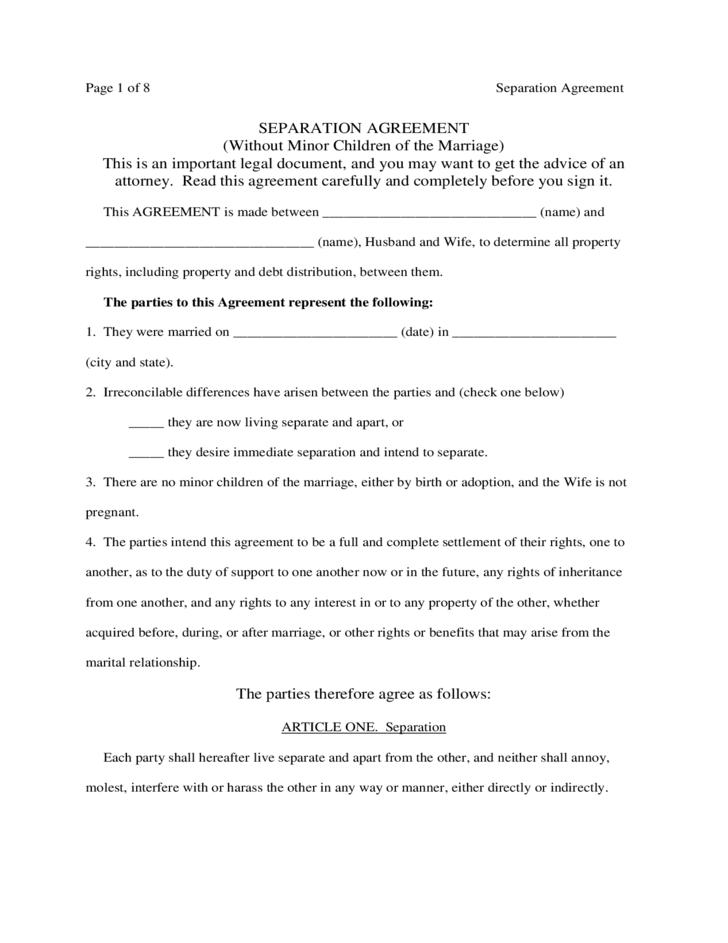Separation Agreement (Without Minor Children of the Marriage) Free ...