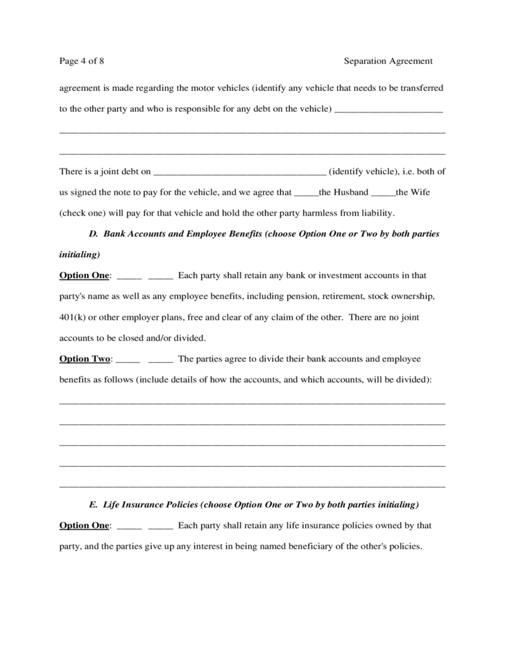 Virginia Separation Agreement Template