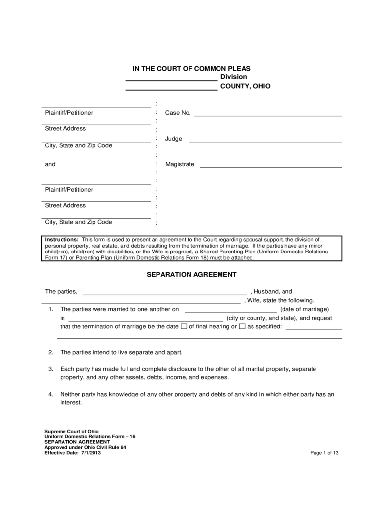 Separation Agreement Form - 2 Free Templates in PDF, Word, Excel ...