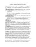 General Contract for Services Example Free Download