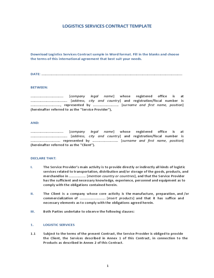 Logistic Services Contract Template Free Download – Contract of Service Format
