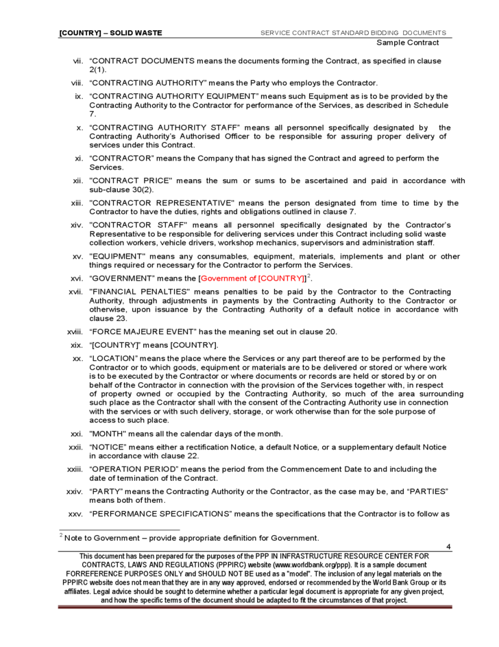 Sample Services Contract
