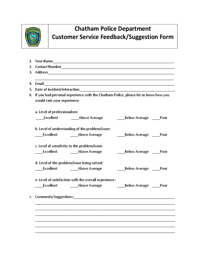 service feedback form 2 free templates in pdf word excel download