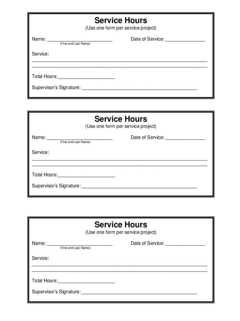 Service Hour Sample Form