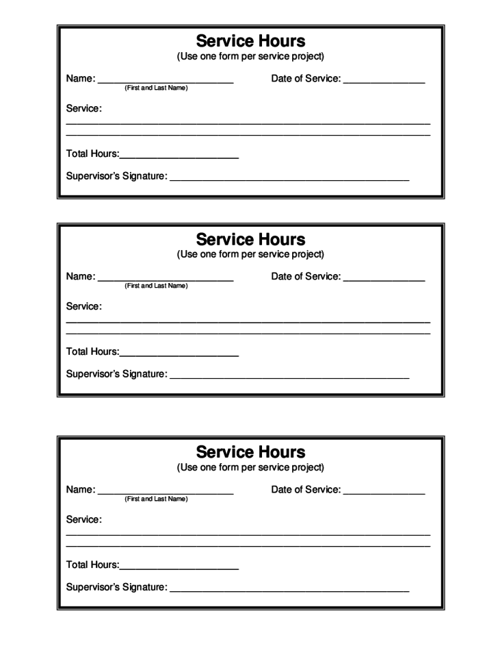 Service hour sample form free download for 0 hours contract template