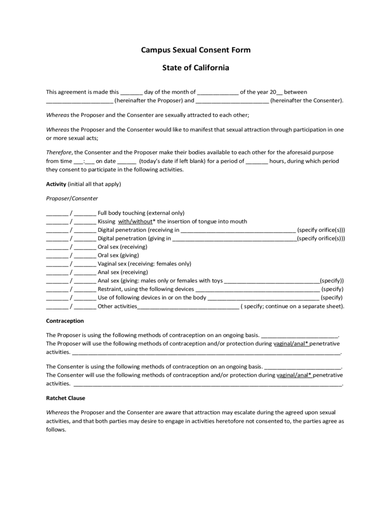 Sexual Consent Form 1 Free Templates In Pdf Word Excel