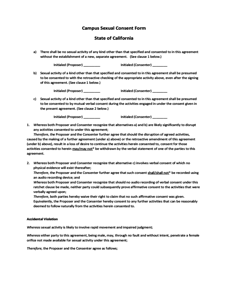 Campus Sexual Consent Form California Free Download