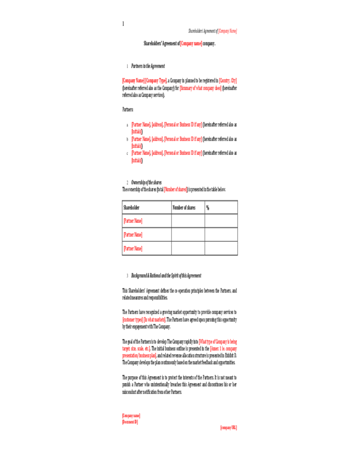 Shareholders Agreement Template FREE Sample Legal Zebra - mandegar.info