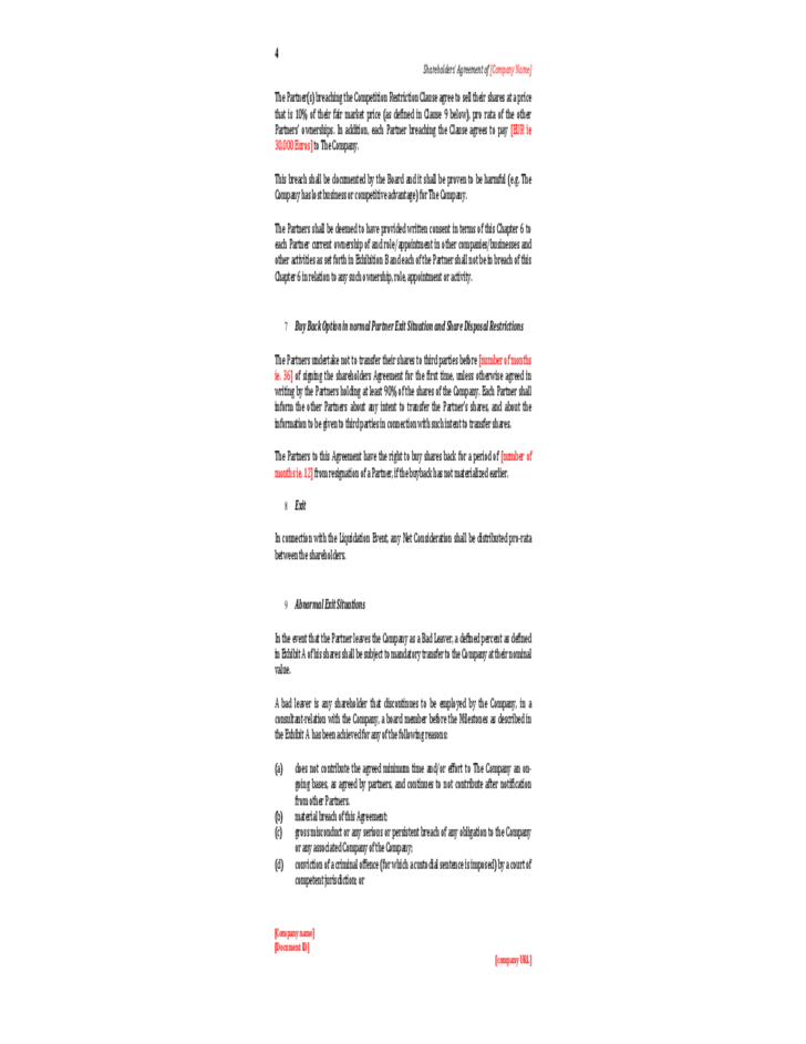 Shareholders Agreement Template Free Sample Download Mandegarfo